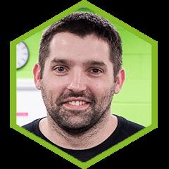 headshot of trainer Matt with green border